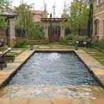 dark bottom and cut flagstone pool